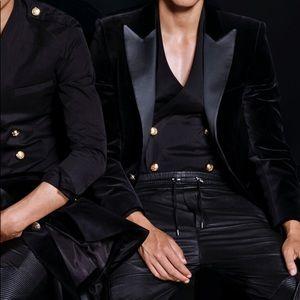 BALMAIN x H&M Black Velvet Tuxedo Blazer US 40R